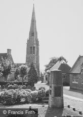 Desborough, War Memorial and Church of St Giles c1955