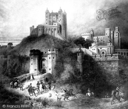 Devizes, Old Painting Of Devizes Castle 1903
