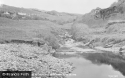 Dinas Cross, The Stream At Aber Bach, With Garn Fawr Behind c.1955