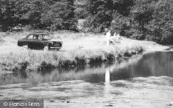 Dinas Mawddwy, A Car And People On Riverbank  c.1960
