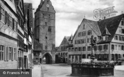 Fountain And Square c.1925, Dinkelsbuhl