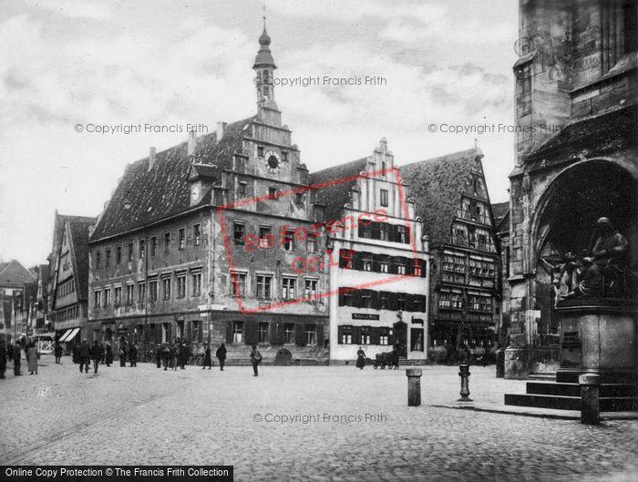 Photo of Dinkelsbuhl, Market Square And Christoph Von Schmid Monument c.1935