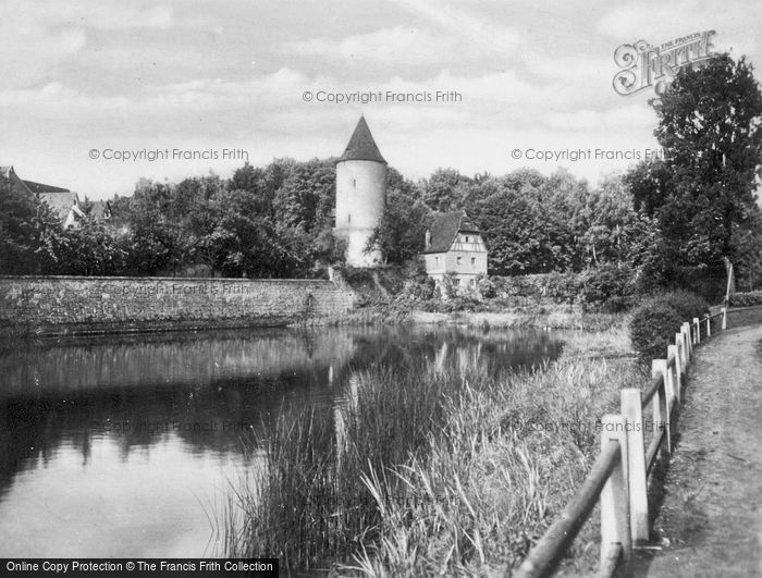 Photo of Dinkelsbuhl, River And City Wall c.1935