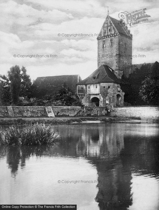 Photo of Dinkelsbuhl, Tower From River c.1935