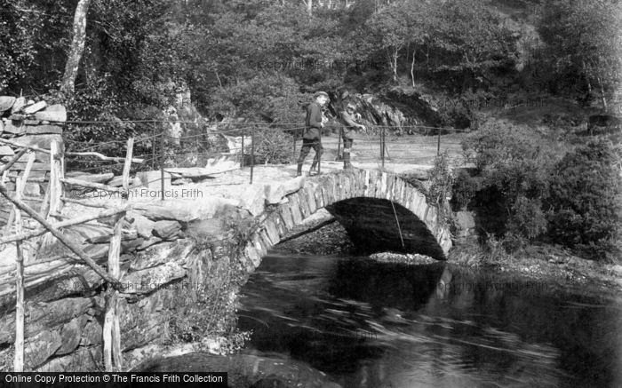 Dolgellau, Boys Fishing On The Bridge 1913