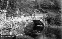 Dolgellau, Boys Fishing on the Bridge 1913