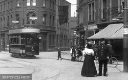 Doncaster, A Tram In Station Road 1903