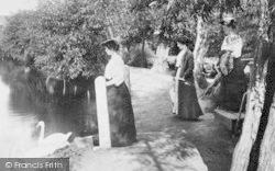 Dorking, Ladies At Mill Pond 1906