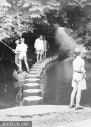 Dorking, People Crossing The Stepping Stones c.1965