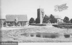 The Pond And Church c.1955, Ducklington