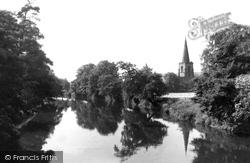 River Derwent And St Alkmund's Church c.1950, Duffield