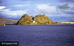 The Castle And Rock Across River Clyde From Langbank c.1995, Dumbarton