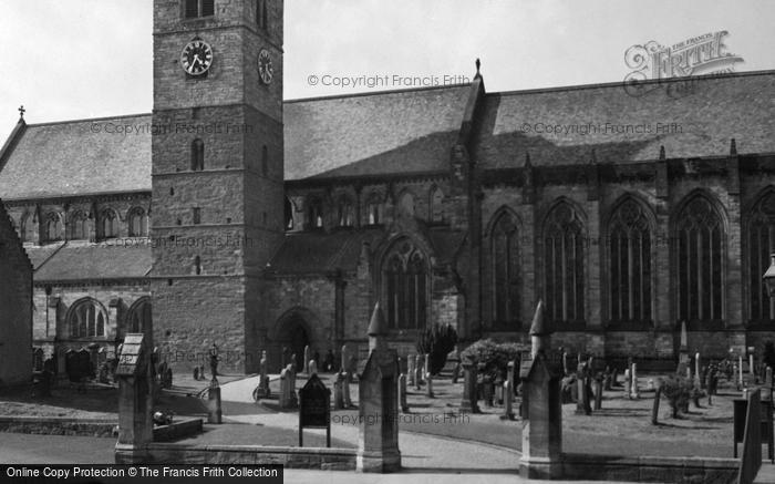 Photo of Dunblane, Cathedral Clock Tower Showing Masonry Difference c.1955