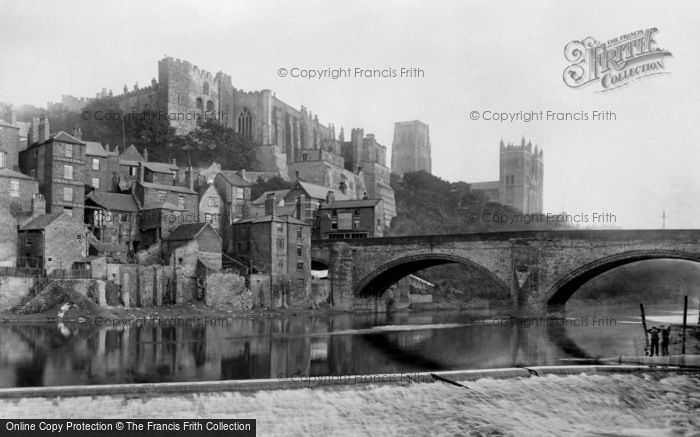 Durham, Framwellgate Bridge and the Castle 1892