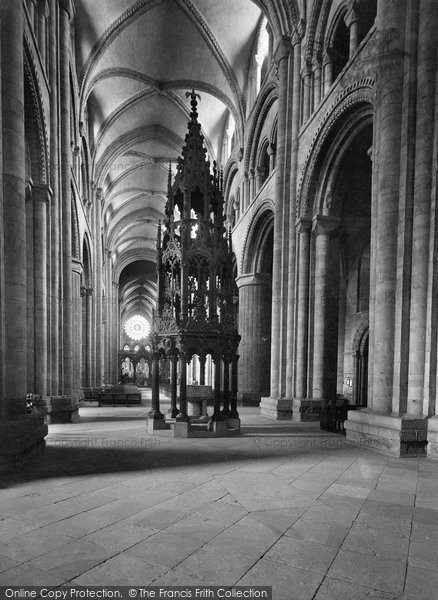 Photo of Durham, the Cathedral Font and Nave 1921, ref. 70716