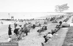 Dymchurch, The Beach Looking West c.1955