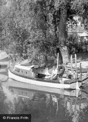 Angler On The Boat c.1955, Earith