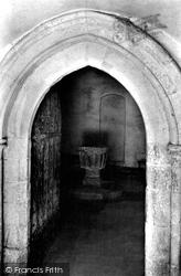 Easby, St Agatha's Church Font 1913