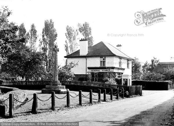 East Budleigh, the War Memorial and Post Office Stores c1960