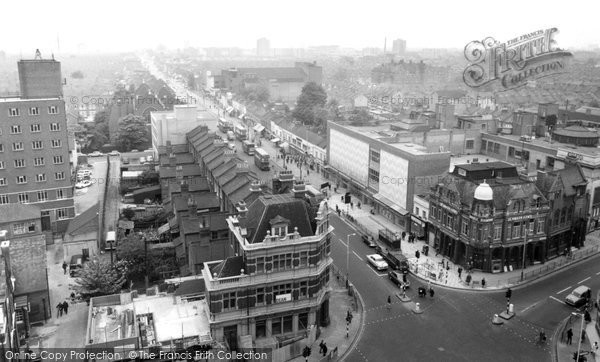 Photo of East Ham, view from Town Hall Tower c1965
