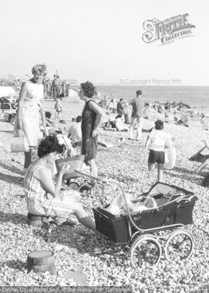 Photo of East Wittering, Pram On The Beach c.1965