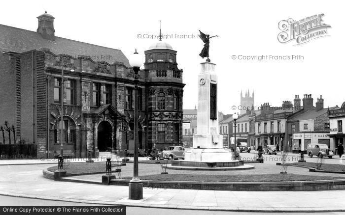 Photo of Eccles, The Library And War Memorial c.1955