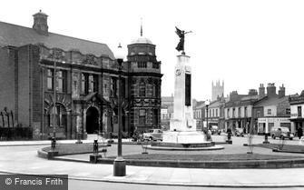 Eccles, the Library and War Memorial c1955