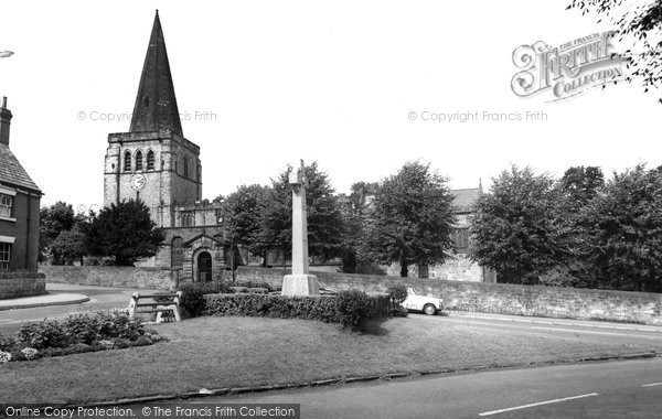 Eckington, the Memorial and Church c1955