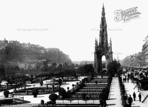 Photo of Edinburgh, Castle and Scott Monument, Princes Street 1897, ref. 39112A