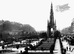 Edinburgh, Castle And Scott Monument, Princes Street 1897