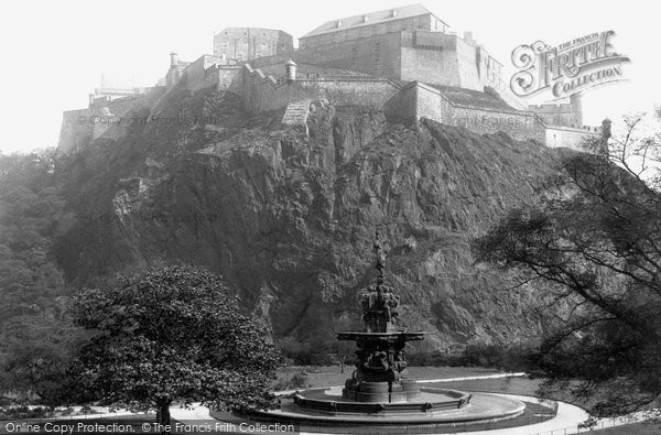 Edinburgh, Castle from Princes Street Gardens 1897