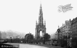 Edinburgh, Scott Monument And Castle 1897