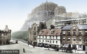 Edinburgh, the Castle from the Grassmarket 1897