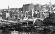 Edinburgh, Waverley Bridge from Princes Street Gardens 1883