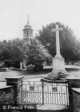 Egham, St John's Church and War Memorial c1955