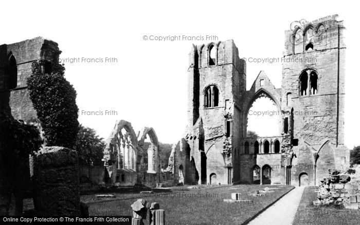 Elgin, the Cathedral, west Towers from Choir c1890