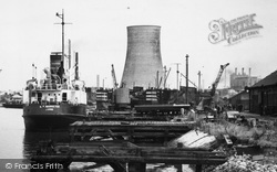 Ellesmere Port, Cooling Tower By The Manchester Ship Canal c.1955
