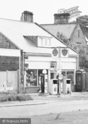 Ellington, The Post Office And Petrol Pumps c.1955