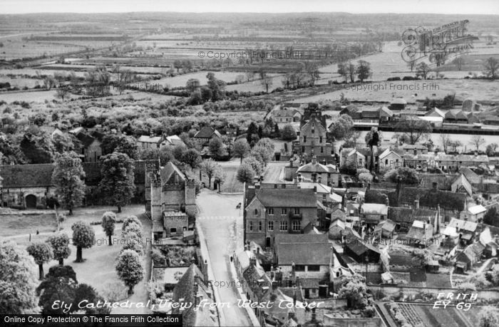 Photo of Ely, View From The Cathedral West Tower c.1955