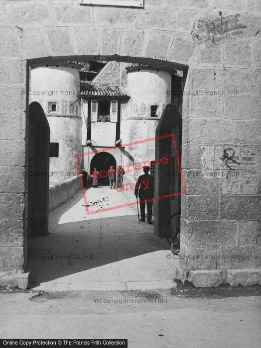 Photo of Entrevaux, Bridge Through Archway c.1939