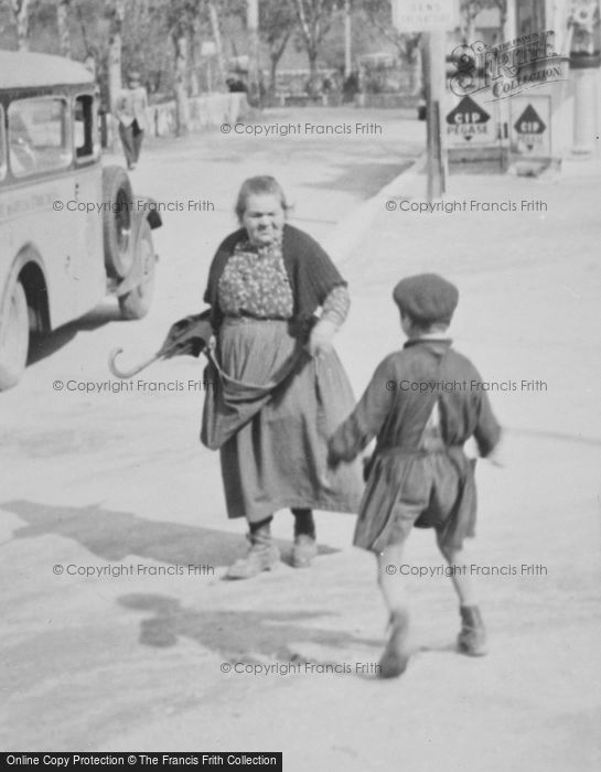 Photo of Entrevaux, Woman And Boy c.1939