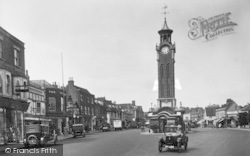 Epsom, High Street And Clock Tower 1928