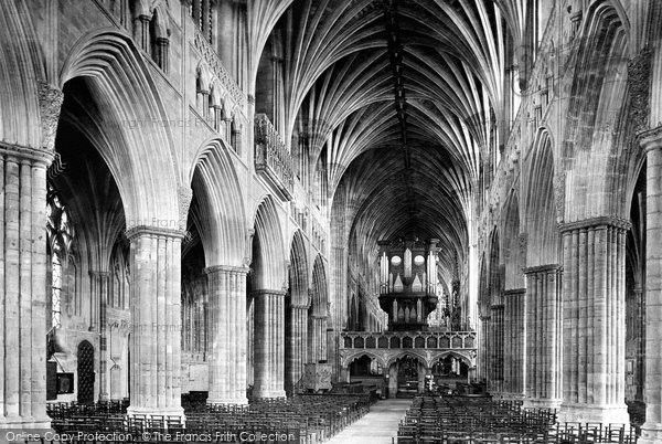 Exeter, the Cathedral, the Nave looking east 1896