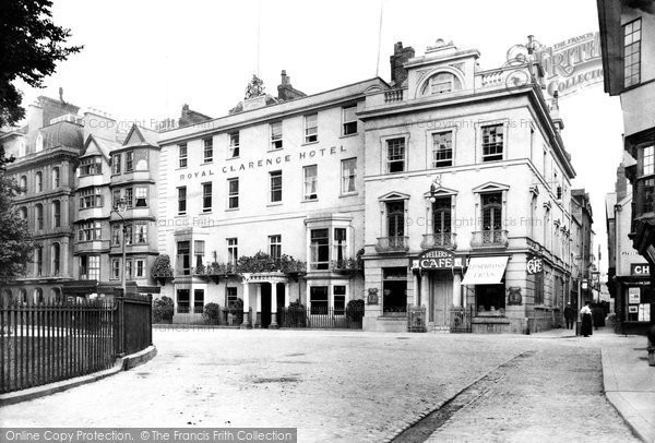Exeter, the Royal Clarence Hotel and Dellars Café 1907