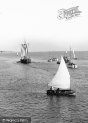 Exmouth, Viking Boat And Other Sailing Boats c.1955