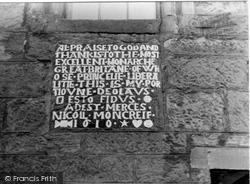 Plaque, Nicoll Moncreif's House 1953, Falkland