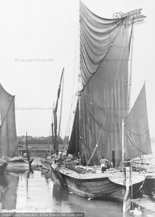 Photo of Faversham, Oare Creek, Sailing Barges c.1900