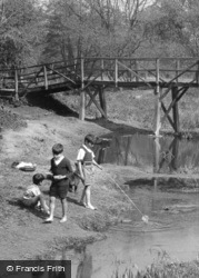 Fetcham, Fishing By The  River Mole c.1955