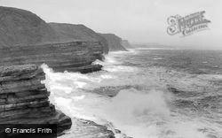 Filey, Rough Sea c.1960