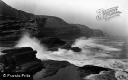Filey, Rough Sea, The Brigg c.1932